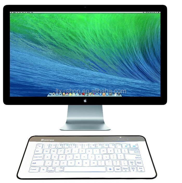 Newest Fashion Glass Touch LED Backlit Universal Wireless Keyboard Transparent Glass LED Touch Keyboard