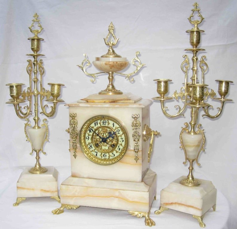 Original antique French table clock set with 2 candelabras