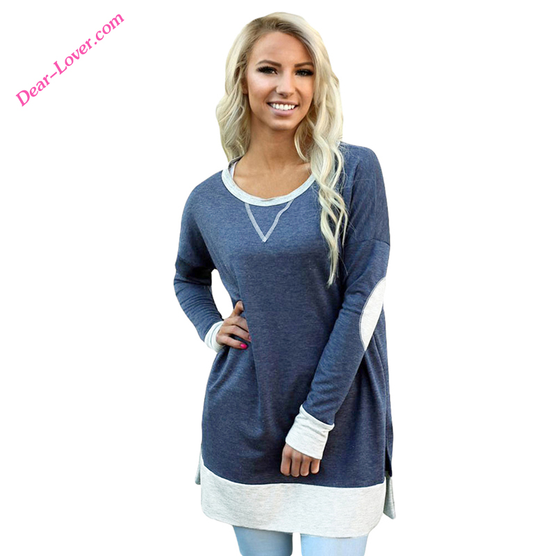 <strong>Navy</strong> Side Pocket Elbow Patch Colorblock <strong>O</strong>-Neck Long Sleeve Lady Blouse