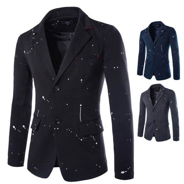 2015 New korean style splash-ink design men's casual blazers