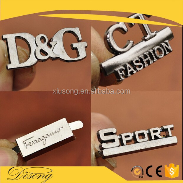 DS2016-39 Silver gold metal engraving label tag plates with custom logo for clothes sewed