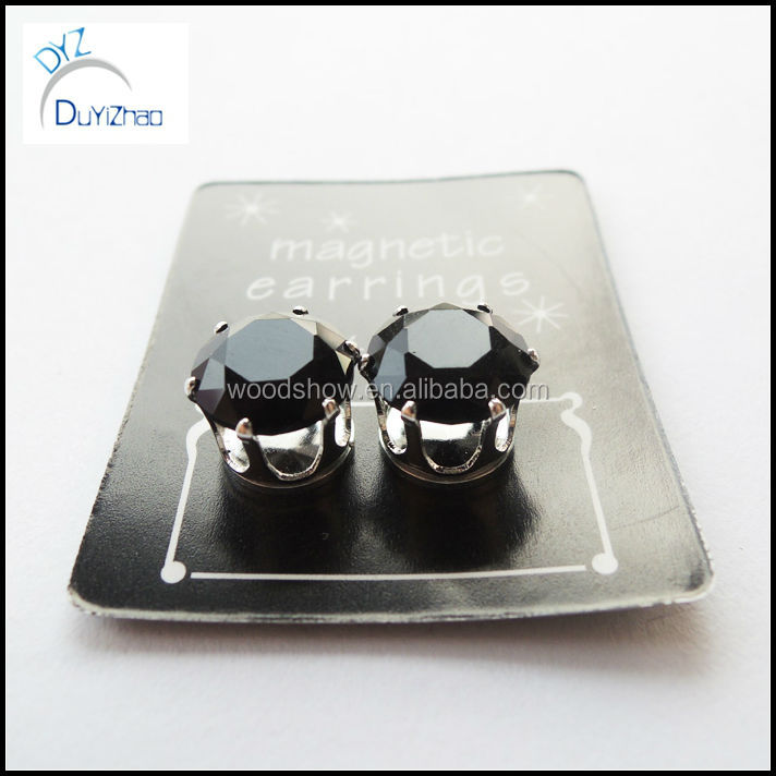 2014 Popular jewelry black cute CZ magnet earring