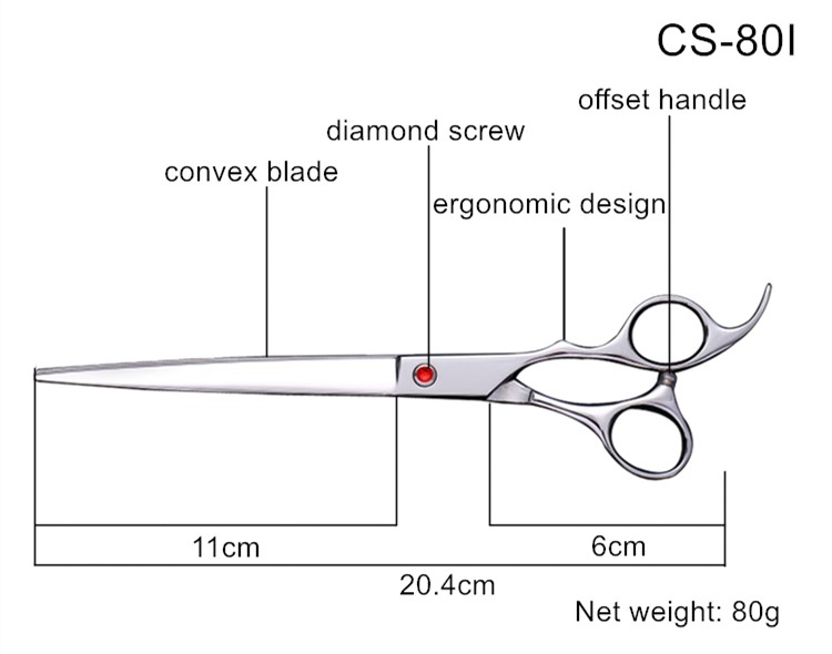 Professional 8inch serrated edge japanese dog grooming scissors for dogs