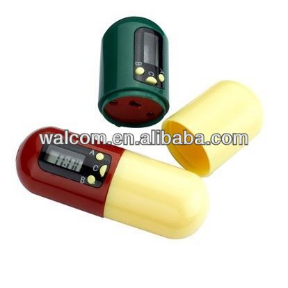 MDZ-8 Capsule Shaped Pill box Timer ,plastic pill boxes with alarm timer
