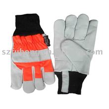 Cow grain chrome reflective leather safety hand gloves