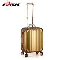 Top Sale And High Quality Sunrise Golden Aluminum Vanity Trolley luggage case