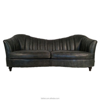 Vintage Black Leather Chaise Lounge Loveseats Furniture