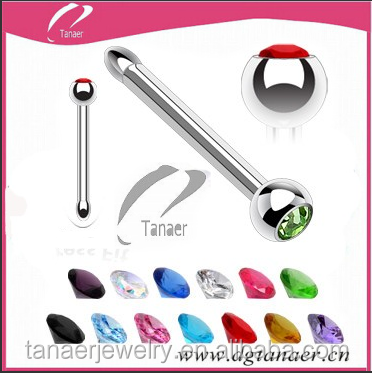 "316L Surgical Stainless Steel 1/4"" Press Fit Nose Bone with Assorted Colored CZ's"