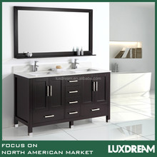 "60"" modern bathroom cabinet with cupc double ceramic wash sinks"
