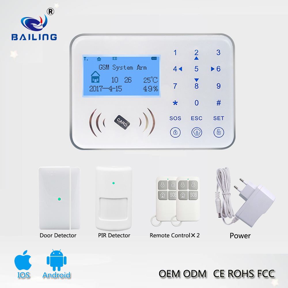 Hot Sales touch keypad smart home automation security burglar GSM wireless alarm system with RFID Card wireless wired zones