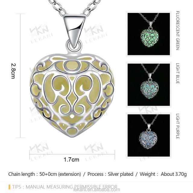 blue crystal heart pendants necklace glow in the dark jewelry