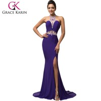 Grace Karin Halter Backless Elegant Purple Split Evening Dresses Sequins Beading Mermaid Long Formal Gown CL007595-1