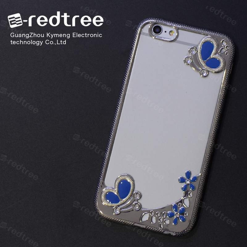 Sublimation Blue Butterfly TPU Eletroplating Cover Phone Case for Samsung Galaxy phone accessories for iphone 6 7 case