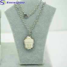 Latest Design Pearl Necklace Jewellery Sliver Chain With Buddha Pendant Necklace