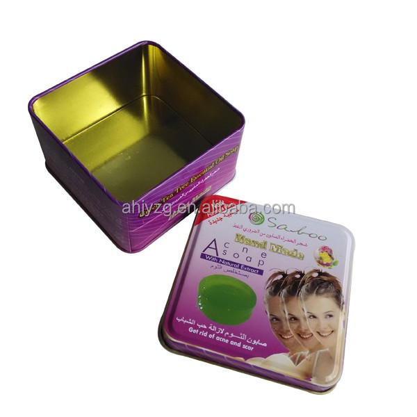 square shape metal soap box packaging wholesale