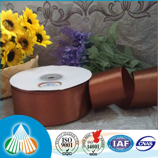 10cm wide brown polyester satin ribbon for big flower
