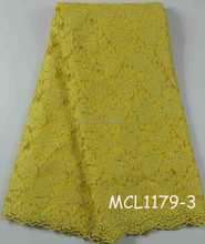 Latest teal blue high quality tulle lace french net fashion YELLOW lace with beads for girl party dress MCL1179-3