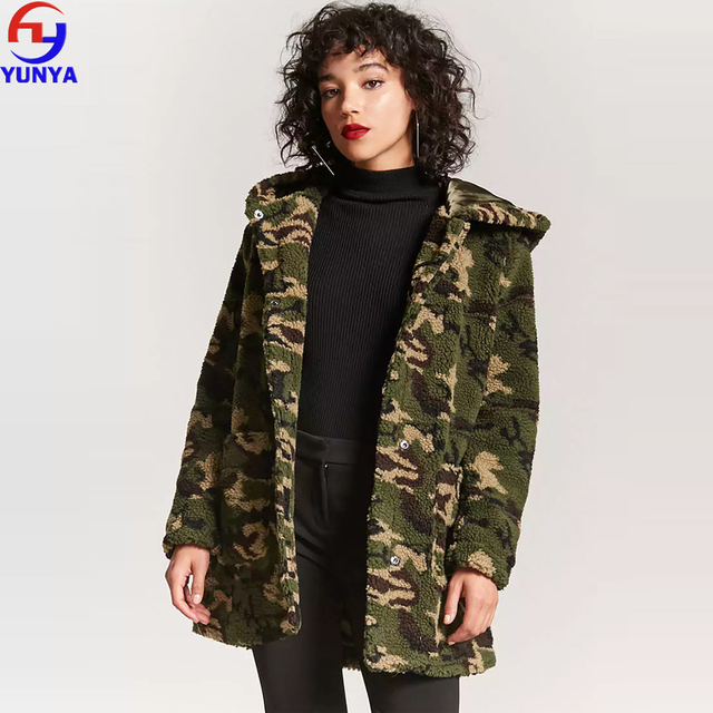 2018 trending products winter faux fur lamb wool coat camo camouflage sherpa oversized jacket