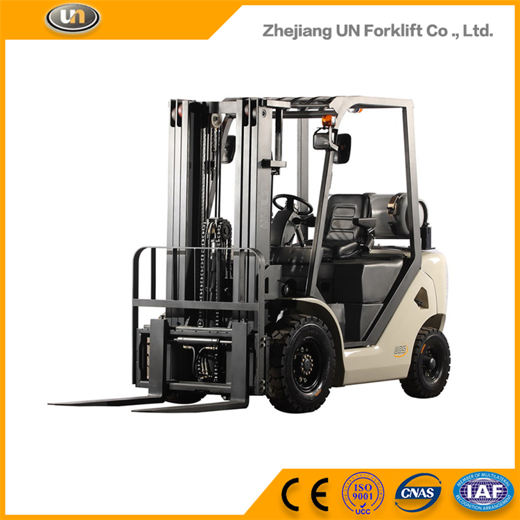 Well Sale Safety Item Warehouse 2.5Ton Cabin Gasoline LPG Forklift Truck