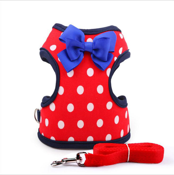Dotted Dog Vest Harness Lead Set with Lovely Bowknot