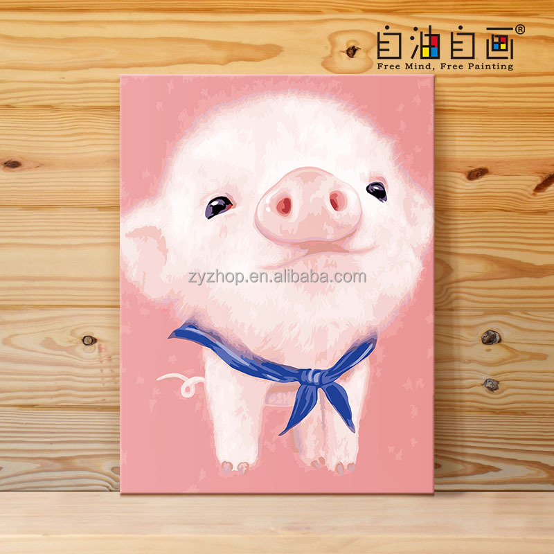 Free Mind Free Painting pig pattern gift and craft painting by numbers