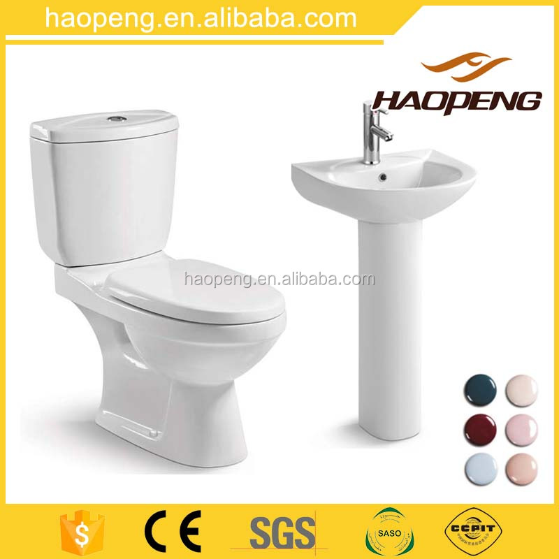 Best design china sanitary ware the top 10 brands Huida ceramic colored bathroom two piece toilet with basin