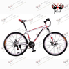 DELUXED MTB!white and red shifting MTB 21 speed double disc-brake mountain bike