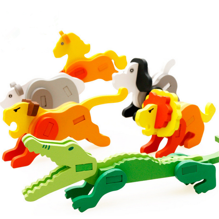 FQ brand new design kids 3d animals diy toy wooden puzzle