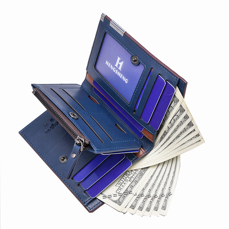 Short Men Wallets ID Credit Card Holder Coin Purse Pockets Zipper Wallet Men Slim Coin Holder Money Bag