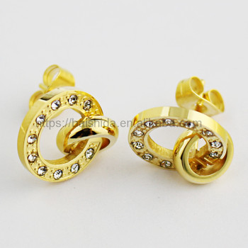 2017 fashion gold round zirconia stud earrings jewelry sets