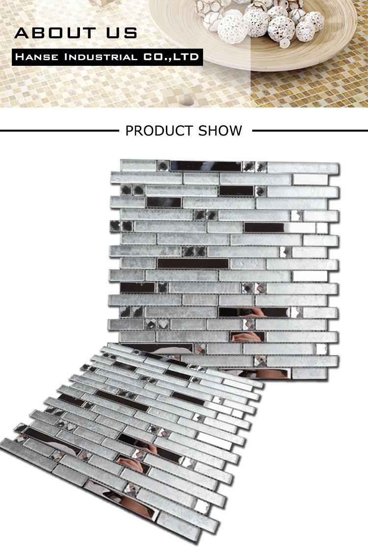 MY173 irregular shape glass mosaic patterns,stainless steel glass tile