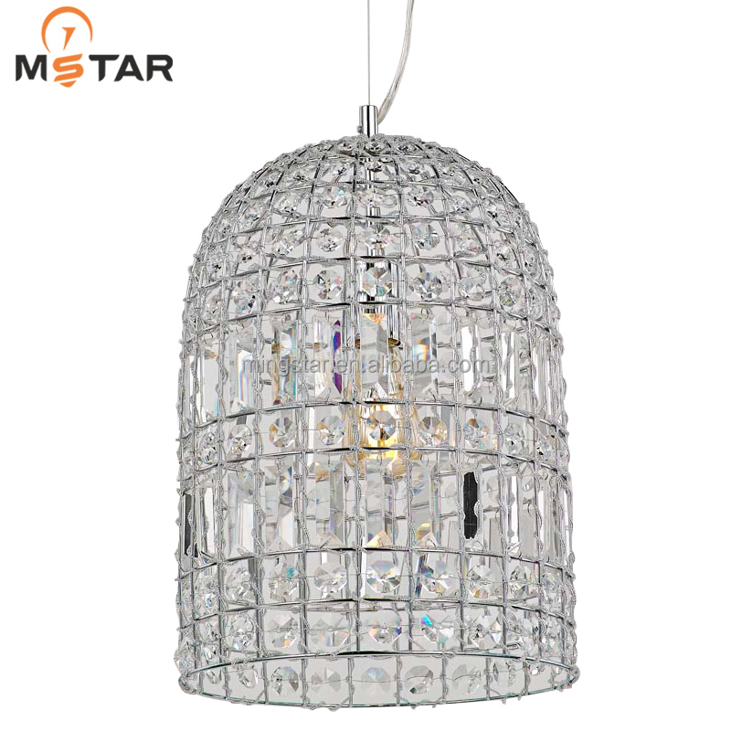 Hot sale large crystal bead iron droplight,crystal droplight for hotel from zhong shan factory