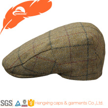 High Quality Custom Check Flat Peaked Cap