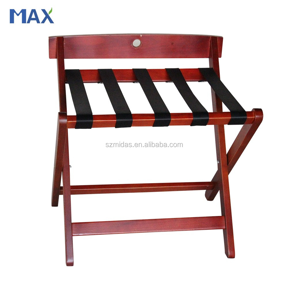 hotel dark red foldable wooden luggage rack