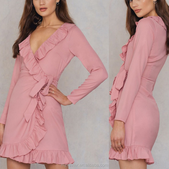 New design v-neck petite mini sexy long sleeves woman dress with frill details custom design