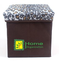 foldable oxford leopard printing storage stool