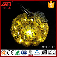 New Design Hand Blown LED Spray Silver Glass Pumpkin With Leaf