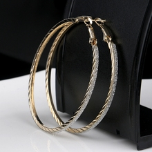 Plain Design Textured Gold Silver Alloy Hoop Earrings Wholesale Cheap Women Large Hoop Brass Earring