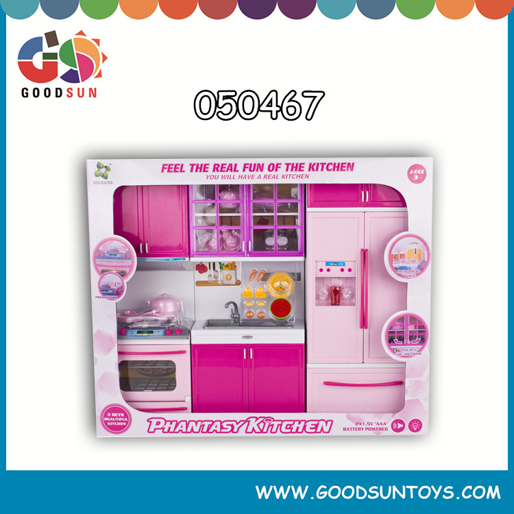Educational plastic mini b/o kitchen furniture play set refrigerator toy with sound and light