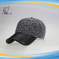 6 panels unstructured baseball cap with leather brim
