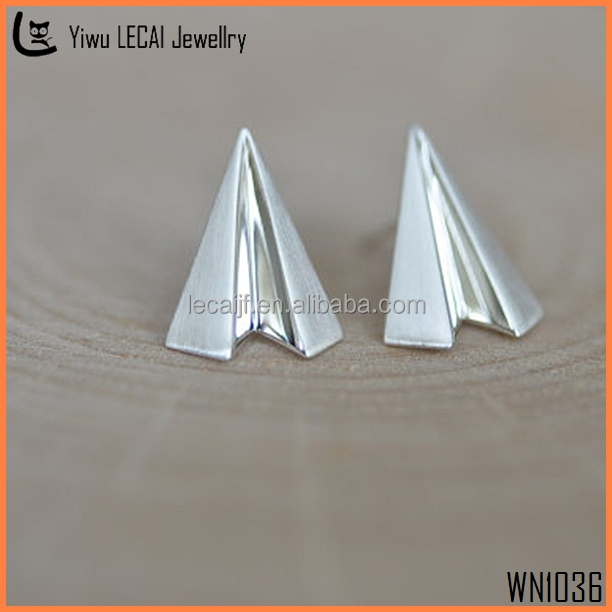 925 Sterling Silver Plane Stud Earrings Tiny Dainty Aircraft Origami Stud Earrings