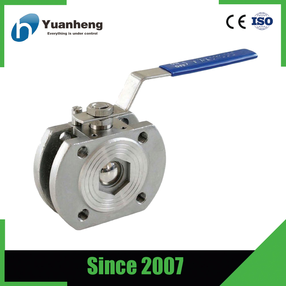 316 stainless steel 1pc wafer flanged ball valve