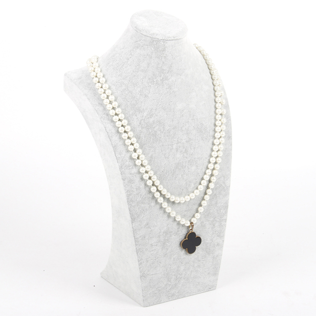 Gray Velvet China supplier high end jewelry necklace display neck shape bust for sale stand
