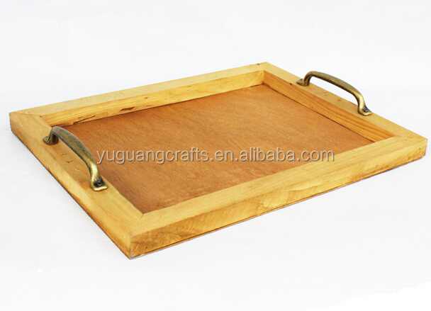 high quality antique wooden serving tray with metal handles
