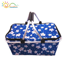Multicolor pretty printed waterproof insulated aluminum foil inside shopping folding basket