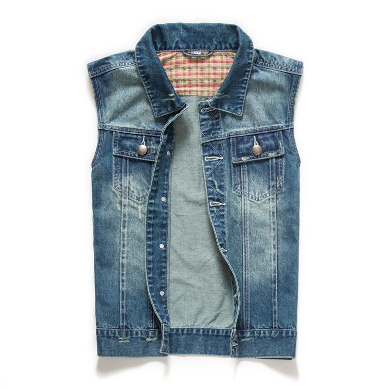 2014 Men's Jean Jacket Vest Denim Blue Coats Men Casual Sleeveless Waistcoat Vests Tops StylishB778