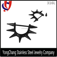 Fancy black 316L stainless steel nipple ring with a barbell and spiral cone for body jewelry for wholesale
