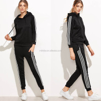 Matching Lady Active Wear Set Black Striped Side Hooded Sweatshirt & Pocket French Terry Sweatpants Women 100% Cotton Tracksuits