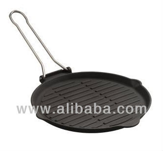 Round Cast Iron Grill Pan with Foldable Handle 25 cm
