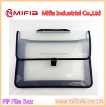 High quality a4 size plastic pp document case box file/file box with handle
